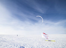 Kite boarding in winter Royalty Free Stock Photo