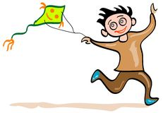 Kite boy. A smiling boy with flying kite isolated funny cartoon Stock Image