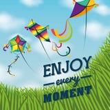 Kite and childhood design. Kite childhood games cartoon design, vector illustration Royalty Free Stock Images