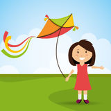 Kite and childhood design. Kite childhood games cartoon design, vector illustration Stock Photo