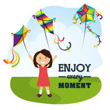 Kite and childhood design. Kite childhood games cartoon design, vector illustration Stock Photography