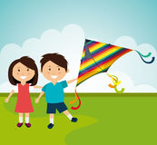 Kite and childhood design. Stock Images