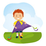Kite and childhood design. Kite childhood games cartoon design, vector illustration Royalty Free Stock Photo