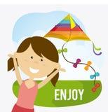 Kite childhood game. Design, vector illustration eps10 Stock Images
