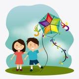 Kite childhood game Royalty Free Stock Image
