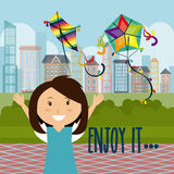 Kite childhood game Royalty Free Stock Images