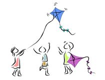 Kite. Children playing with a kite Stock Images