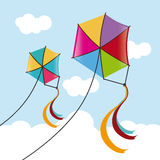 Kite design. Over cloudscape background,  illustration Royalty Free Stock Photo