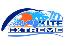 Kite extreme. Logo for kite team or kite school illustration Royalty Free Stock Image