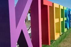 Kite Fest. A big and colorful kite fest word on display during the Redcliffe Kite Fest held last August 2015. This is an annual festival showcasing different Royalty Free Stock Photos