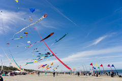 Kite festival. Colored kites at  International kite festival of Cervia - Italy Royalty Free Stock Photo