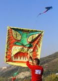 Kite festival - a guy with big square kite royalty free stock photo
