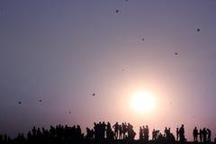 Kite festival Silhouette Stock Images