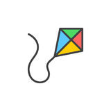 Kite filled outline icon, line vector sign, linear colorful pictogram. Stock Image