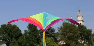 Kite flies towards the religious building Royalty Free Stock Images
