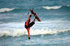 Kite Flip 2. Kite surfer does a flip royalty free stock image