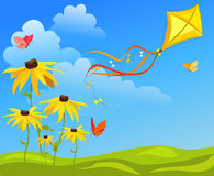 Kite, flowers on bright background Stock Photography