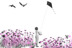 Kite flyer. Young girl flying a kite in field of flowers Royalty Free Stock Image