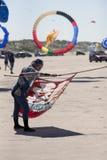 Kite flyer from Japan. FANOE, DENMARK JUNE 17, 2017: Kite flyer from Japan is ready to let the kite rise on Fanø beach. Fanoe Kite Fliers Meeting June 2017 Stock Photography