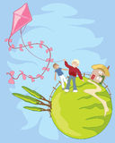 Kite flying. An illustration of two boys flying a brightly colored kite with a house and poplar trees in the background Stock Image