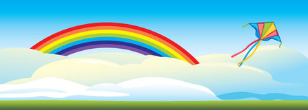 Kite flying against a background of clouds and a rainbow. Illustration Stock Photography