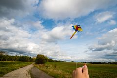 Kite flying in the air Royalty Free Stock Images