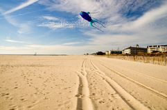 Kite Flying on the Beach-1 Royalty Free Stock Photography