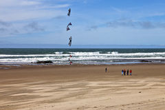 Kite flying on the beach Oregon coast. Royalty Free Stock Image