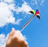 Kite flying in a beautiful sky clouds Royalty Free Stock Photo