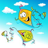 Kite flying on blue sky - vector Royalty Free Stock Image