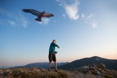 Kite flying. The boy launches a kite. Beautiful sunset. Mountains, sea, landscape. Summer day, sunny royalty free stock photos