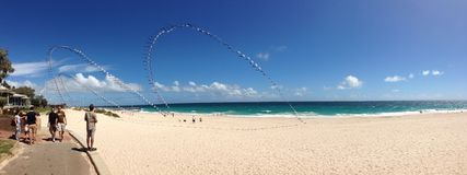 Kite Flying at City Beach Panorama Stock Images