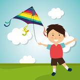 Kite flying in cloudscapes Stock Image