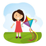 Kite flying in cloudscapes Royalty Free Stock Images