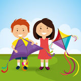 Kite flying in cloudscapes Stock Images