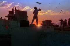 Kite flying day Uttarayan in old Amdavad royalty free stock photos