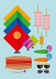 Kite Flying Festival Preparation. Kites, Manja, Dhol, Nagara, Goggles and flutes. Total kit for kite flying festival for fun and joy. 14th January kit for Stock Photos