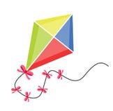Kite flying. icon flat, cartoon style. Isolated on white background. Vector illustration, clip-art. Stock Image