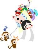 Kite flying by monkeys Stock Image