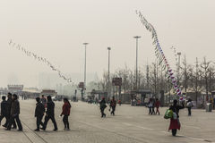 Kite flying at olympic park. BEIJING, CHINA-25th MARCH 2014:- Kite flying in Olympic park, the sales people are out in force selling souvenirs to tourists Royalty Free Stock Photography