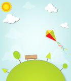 Kite flying over the park Royalty Free Stock Photography