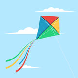 Kite flying in the sky. Among the clouds. Vector illustration in cartoon flat style design stock illustration