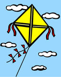Kite flying in the sky vector illustration. Vector illustration of a yellow kite flying in the sky with clouds in the background Stock Photo