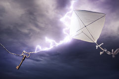 Kite getting struck by a bolt of lightning Royalty Free Stock Photos