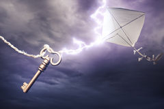 Kite getting struck by a bolt of lightning Royalty Free Stock Image