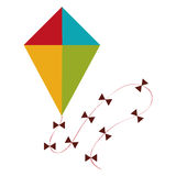 Kite icon. Flat design of kite with bows on the string icon Royalty Free Stock Photo