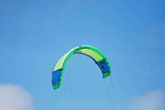 Kite for a Kiteboard in the Sky Over Aruba. Kite flying high in the sky for power kiting on the ocean Stock Photography
