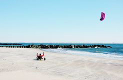 Kite landboarding on coney island Royalty Free Stock Photos