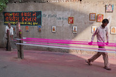 Kite making in Ahmedabad in Gujarat state, India Royalty Free Stock Images