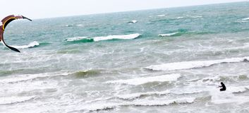kite netherland north sea surfer surfing Στοκ Φωτογραφίες